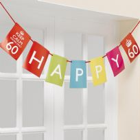 Keep Calm And Party On Happy Birthday Bunting - Ages 60 70 80
